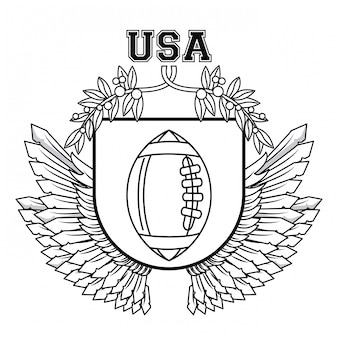 Usa american football ball on badge with wings vector illustration graphic design