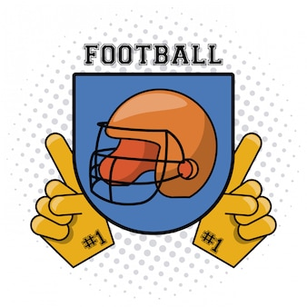 Usa american football helmet on badge with fan gloves vector illustration graphic design