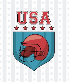 Usa american football helmet and stars on badge vector illustration graphic design
