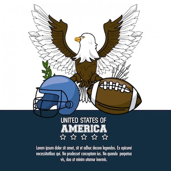 Usa american football poster with information vector illustration graphic design