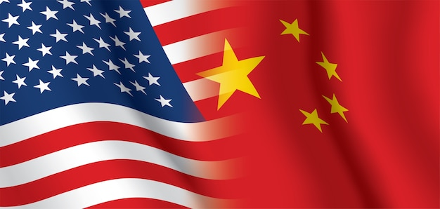 미국과 중국 흔들며 깃발 배경입니다.