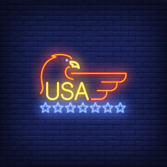 USA and eagle symbol with stars on brick background. Neon style illustration.