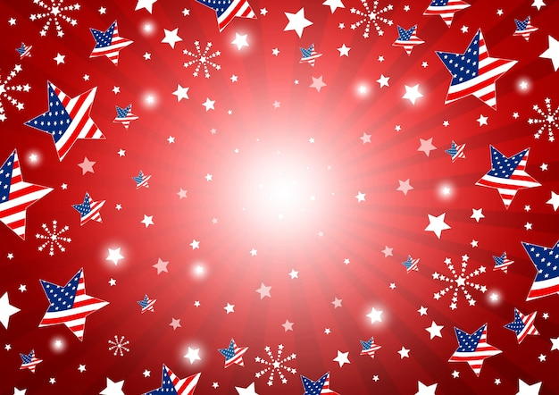 Usa background of america flag in star and fireworks