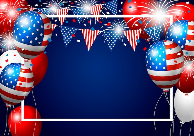 Usa balloon design of american flag with firework