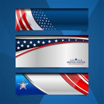 独立記念日やその他のイベントのためのアメリカのバナーの背景