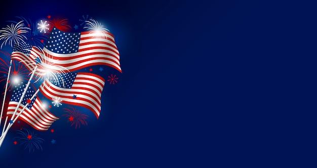 Сша баннер фон американского флага с копией пространства