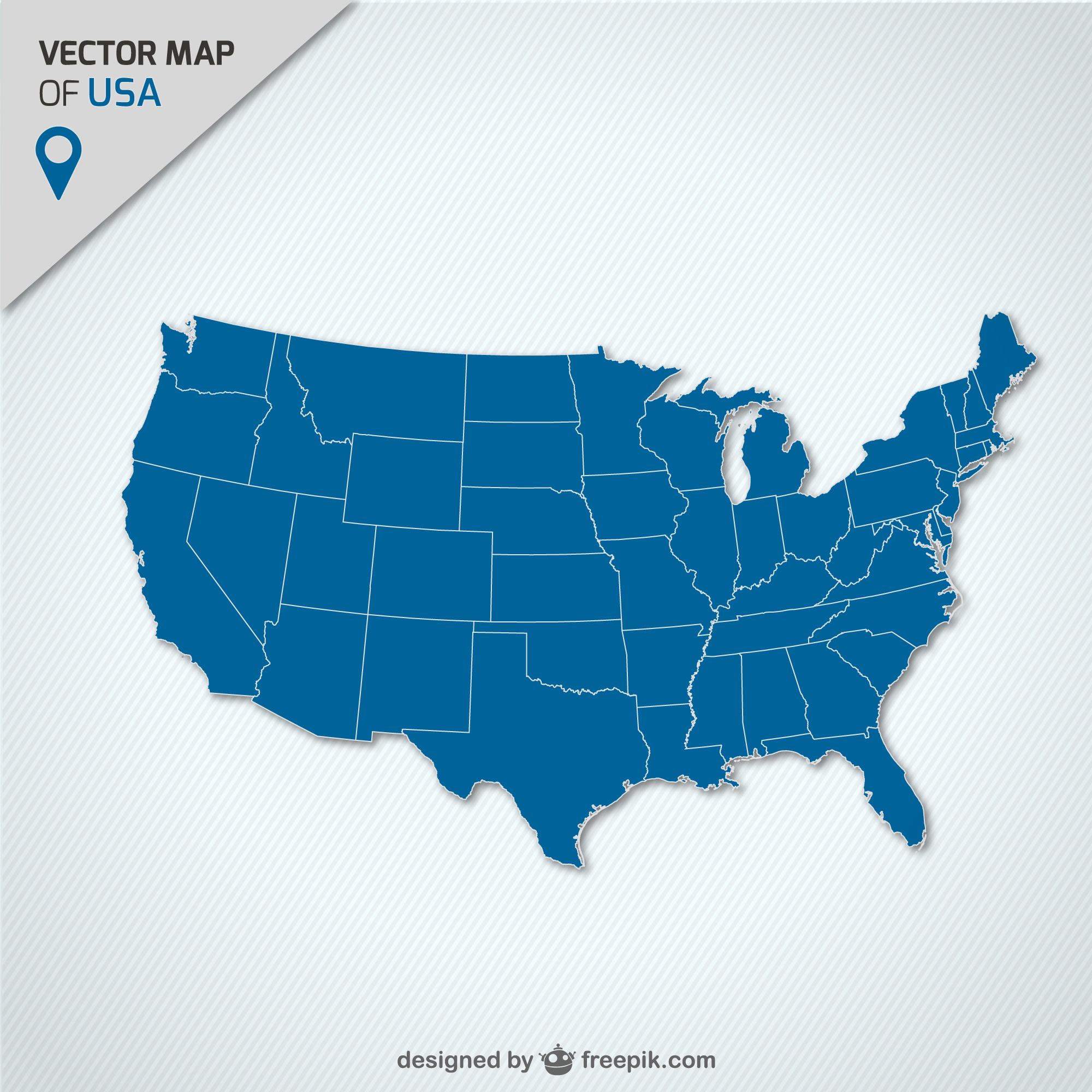USA blue map