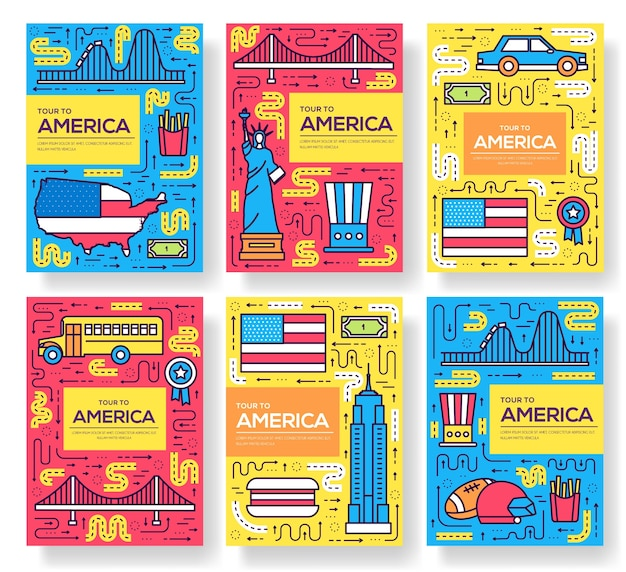 Usa  brochure cards thin line set. country travel template of flyear, posters, book, banners.