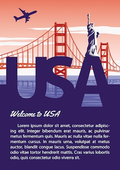 Usa brochure in typography national flag color