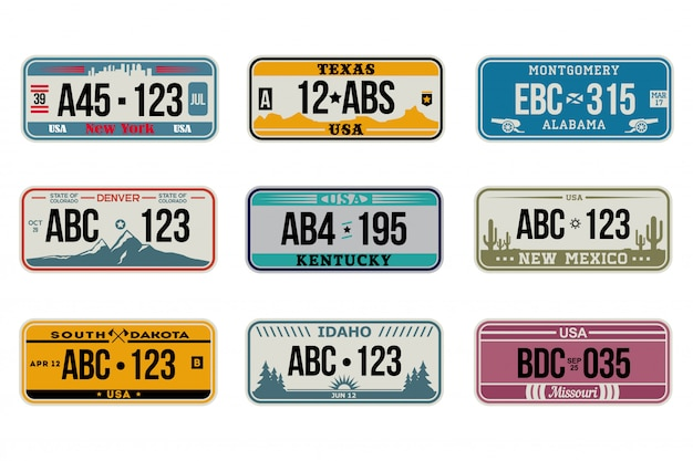 Usa car number plates set