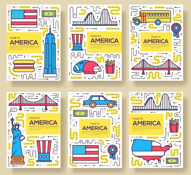 Usaカード細線セット。 flyear、雑誌、ポスター、本の表紙、バナーのカントリートラベルテンプレート。