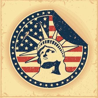 Usa circular sticker with liberty statue