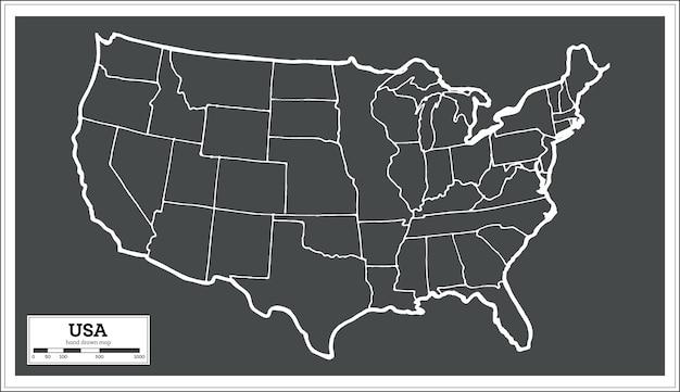 복고 스타일의 미국 도시 지도입니다. 개요 지도. 벡터 일러스트 레이 션.