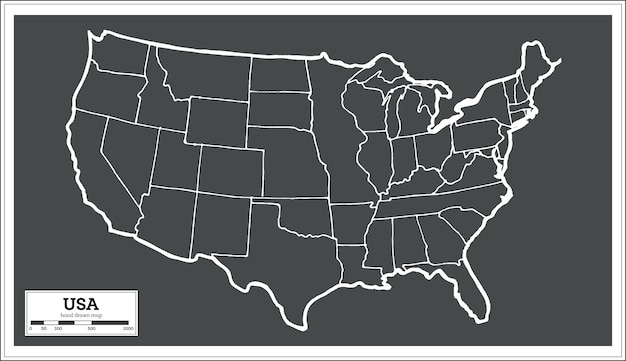 Usa city map in retro style. outline map. vector illustration.