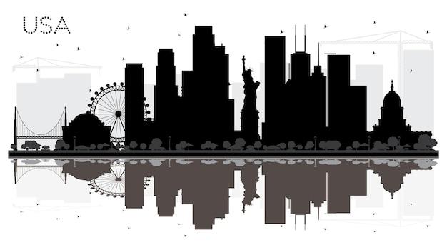 반사와 미국 도시 스카이 라인 흑백 실루엣. 관광 프레젠테이션, 배너, 현수막 또는 웹 사이트를 위한 단순한 평면 개념입니다. 비즈니스 여행 개념입니다. 랜드마크가 있는 도시 풍경.