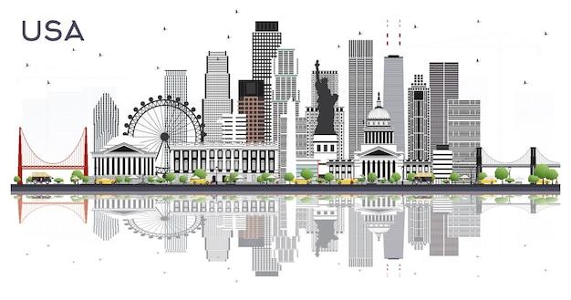 회색 건물과 반사 화이트 절연 미국 도시의 스카이 라인. 벡터 일러스트 레이 션. 현대 건축과 비즈니스 여행 및 관광 개념입니다. 랜드마크가 있는 미국 풍경입니다.