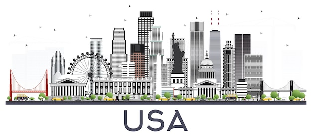 흰색 절연 회색 건물과 미국 도시의 스카이 라인. 벡터 일러스트 레이 션. 현대 건축과 비즈니스 여행 및 관광 개념입니다. 랜드마크가 있는 미국 풍경입니다.