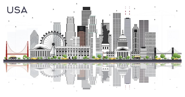 Usa city skyline with gray buildings and reflections isolated on white. vector illustration. business travel and tourism concept with modern architecture. usa cityscape with landmarks.