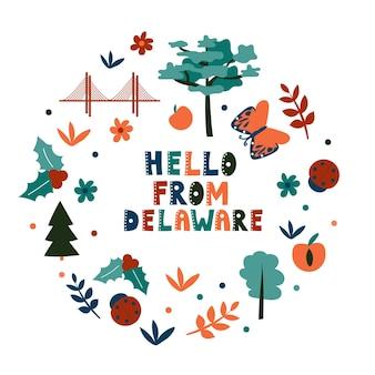 미국 컬렉션입니다. 안녕하세요 델라웨어 테마입니다. 상태 기호 원형 카드