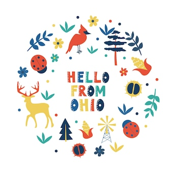 Коллекция сша. привет из темы огайо. карточка круглой формы с государственными символами