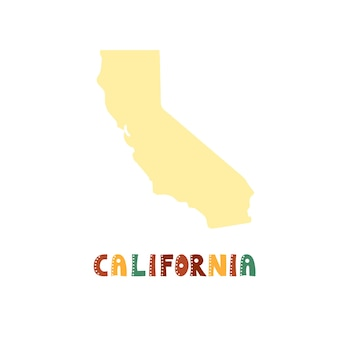 Usa collection. map of california - yellow silhouette