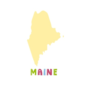Usa collection. map of maine - yellow silhouette. doodling style lettering