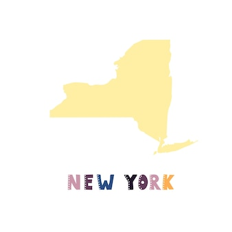 Usa collection. map of new york - yellow silhouette
