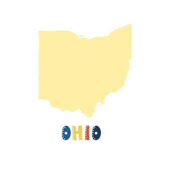 Usaコレクション。オハイオ州の地図-黄色のシルエット。落書きスタイルのレタリング