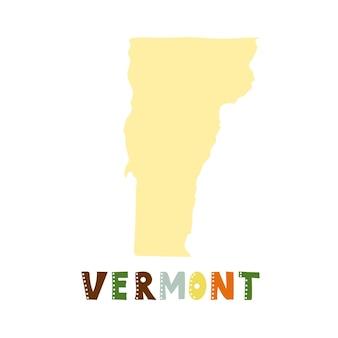 미국 컬렉션입니다. 버몬트의 지도-노란색 실루엣입니다. 낙서 스타일 글자