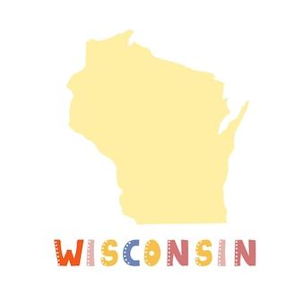 미국 컬렉션입니다. 위스콘신의 지도-노란색 실루엣입니다. 낙서 스타일 글자