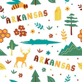 Usa collection. vector illustration of arkansas theme. state symbols - seamless pattern