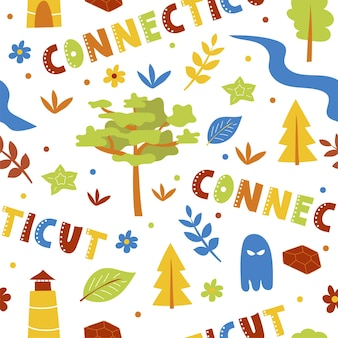 Usa collection. vector illustration of connecticut theme. state symbols - seamless pattern