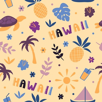 Usa collection. vector illustration of hawaii theme. state symbols - seamless pattern