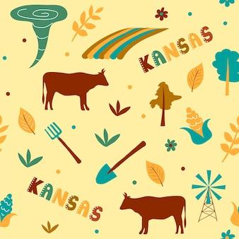 Usa collection. vector illustration of kansas theme. state symbols - seamless pattern