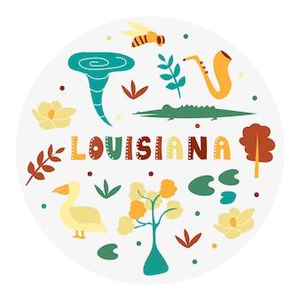 Usa collection. vector illustration of louisiana theme. state symbols - round shape