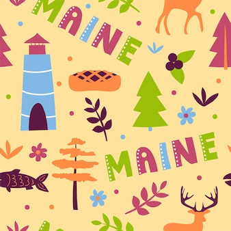 Usa collection. vector illustration of maine theme. state symbols - seamless pattern