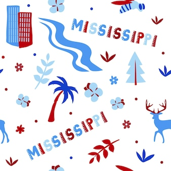 Usa collection. vector illustration of mississippi theme. state symbols