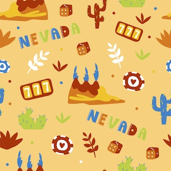 Usa collection. vector illustration of nevada theme. state symbols - seamless pattern