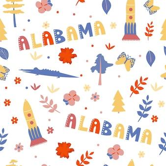 Usaコレクション。アラバマのテーマのベクトルイラスト。状態記号-シームレスパターン