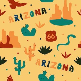 Usaコレクション。アリゾナのテーマのベクトルイラスト。状態記号-シームレスパターン