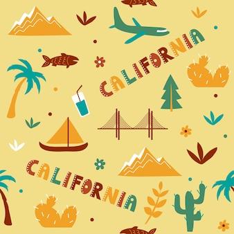 Usaコレクション。カリフォルニアのテーマのベクトルイラスト。状態記号-黄色のシームレスパターン