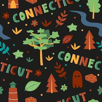 Usaコレクション。コネチカットのテーマのベクトルイラスト。状態記号-黒のシームレスパターン