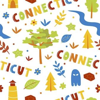 Коллекция сша. векторная иллюстрация темы коннектикута. государственные символы - бесшовный фон