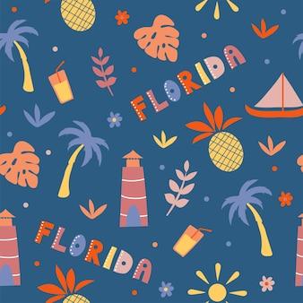 미국 컬렉션입니다. 플로리다 테마의 벡터 일러스트 레이 션. 상태 기호-원활한 패턴