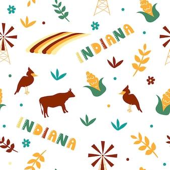 Usaコレクション。インディアナのテーマのベクトルイラスト。状態記号-シームレスパターン