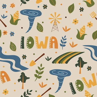 Usaコレクション。アイオワのテーマのベクトルイラスト。状態記号-シームレスパターン