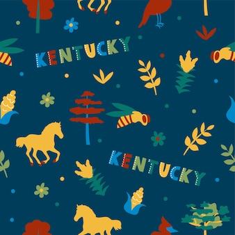 Usaコレクション。ケンタッキーテーマのベクトルイラスト。状態記号-ダークブルーのシームレスパターン