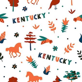 Usaコレクション。ケンタッキーテーマのベクトルイラスト。状態記号-シームレスパターン