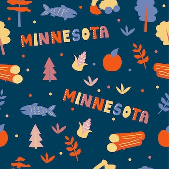 Usaコレクション。ミネソタのテーマのベクトルイラスト。状態記号-青のシームレスパターン