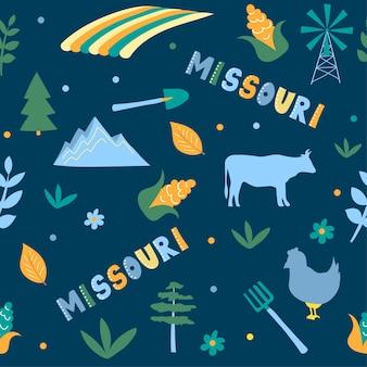 Usaコレクション。ミズーリ州のベクトルイラスト。状態記号-ダークブルーのシームレスパターン